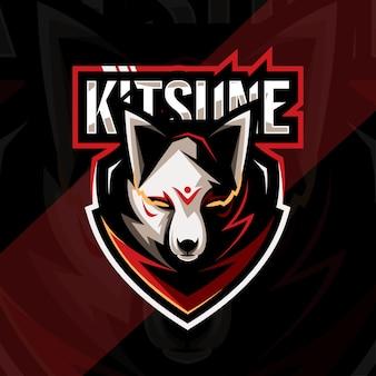 Голова кицунэ талисман с логотипом кибер дизайн шаблона