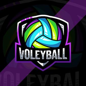 Шаблон дизайна логотипа волейбол