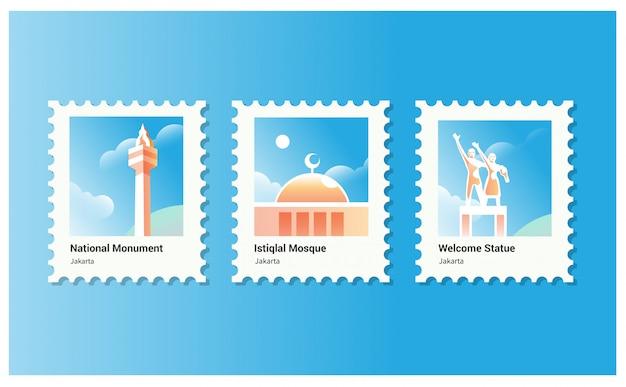観光に適したジャカルタの国立記念碑とイスティクラルモスクのベクトルイラスト