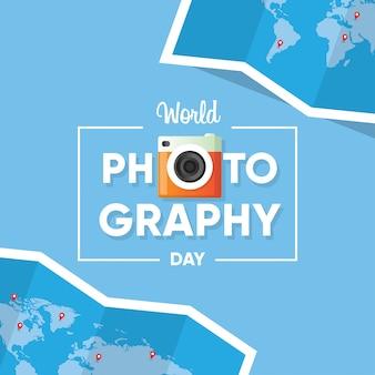 世界地図の背景を持つ世界写真デーのバナーのロゴのタイポグラフィ