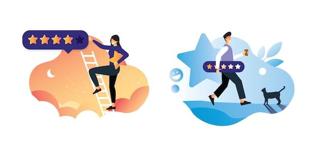 男性と女性のイラストの概念を保持している星フィードバック消費者または顧客レビュー評価、満足度レベル、アプリまたはオンライン予約の批評家アイコンコンセプト