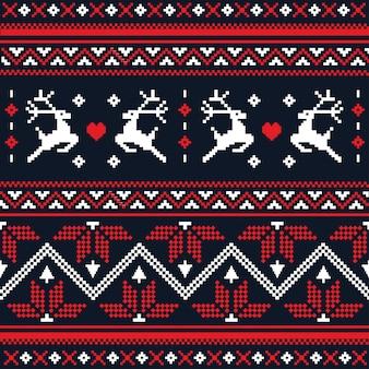 クリスマスの手作りニットシームレスパターンスカンジナビア