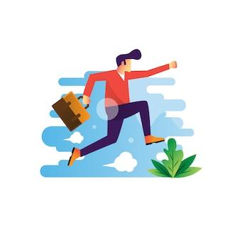Прыжки счастливый деловой человек