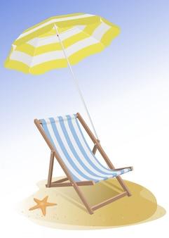 ビーチチェアと傘