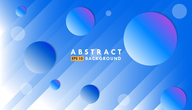Абстрактный синий градиент фона с линиями и кругами