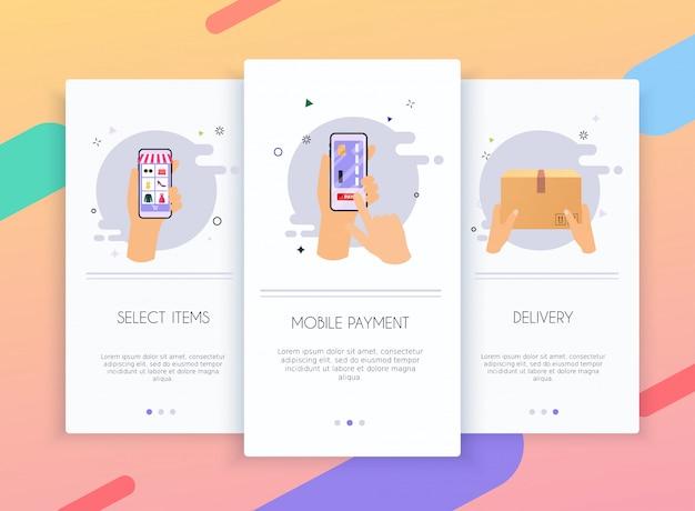 オンラインショッピングのモバイルアプリテンプレートの概念のためのオンボーディング画面ユーザーインターフェイスキット。