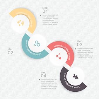 ビジネスプレゼンテーション用のカラフルな情報グラフィック。