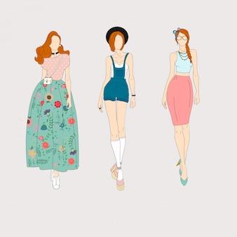 手描きのファッションモデル。