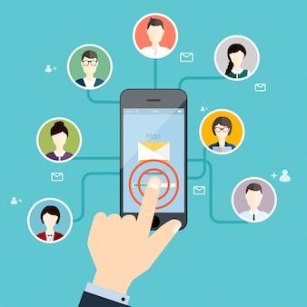 メールキャンペーン、メール広告、ダイレクトデジタルマーケティングを実行するマーケティングコンセプト。