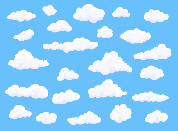 青色の背景に異なる形状の漫画白い雲。装飾要素。