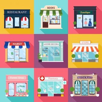 Прохладный набор подробных плоский дизайн ресторанов и магазинов фасадных иконок. фасадные иконки. идеально подходит для деловых веб-публикаций и графического дизайна. плоский стиль