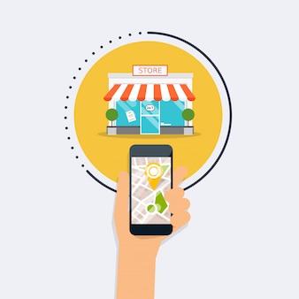 モバイルアプリケーションの検索ストアとモバイルのスマートフォンを持っている手。市内地図で最も近い場所を探します。フラットなデザインスタイルのモダンなコンセプト。