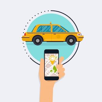 モバイルアプリ検索タクシーでモバイルスマートフォンを持っている手。公共タクシーサービスアプリケーションのベクトル現代平らな創造的な情報グラフィックデザイン。フラットなデザインのモダンなコンセプト。