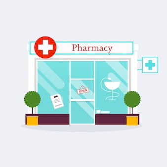 Аптека аптека фасад магазина. плоский стиль