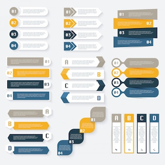 ビジネスプレゼンテーションのインフォグラフィックデザインテンプレートのセットです。情報グラフィック、グラフィック、ウェブサイトのレイアウト、番号付きバナー、図、ウェブデザインに使用できます。