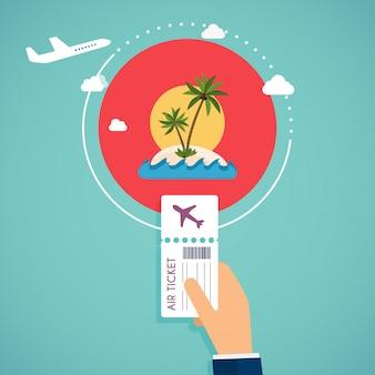 航空券を購入します。飛行機での旅行、夏休みの計画、観光や旅のオブジェクト、乗客の荷物。