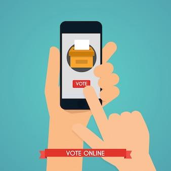 画面にアプリの投票でスマートフォンを持っている手。通信システムとテクノロジー。