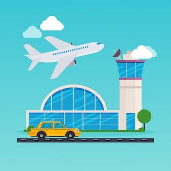 空港エリアのイラスト。フラットなデザインのモダンなコンセプト。