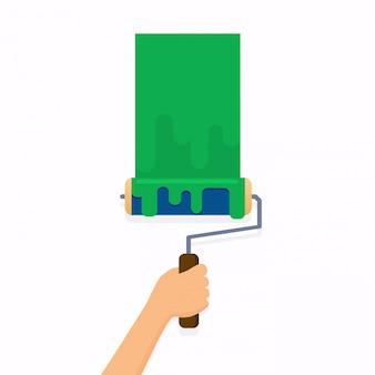 ローラーブラシを押しながら壁を塗る手。フラットなデザインのモダンなイラストのコンセプトです。