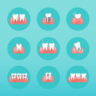 Виды услуг стоматологической клиники. стоматология и стоматологические процедуры иконы. иллюстрация ухода за зубами. стиль современной векторной иллюстрации концепции.