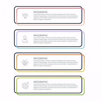 Инфо графика для ваших бизнес презентаций. может быть использован макет сайта, пронумерованные баннеры, схема, горизонтальные линии выреза, веб.