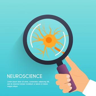 神経細胞のイラスト付きの虫眼鏡を持っている手。モダンなイラストのコンセプトです。