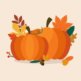 秋のカボチャと葉。フラットなデザインのモダンなビジネスコンセプト。