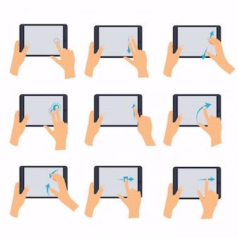 タブレットタッチコンピューターガジェットを持っている手。タッチスクリーンタブレットでよく使用されるマルチタッチジェスチャーを示す手のアイコン。フラットなデザインのモダンなビジネスコンセプト。