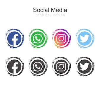 人気のあるソーシャルメディアのロゴコレクション