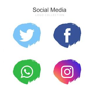 人気のソーシャルメディアのロゴコレクション