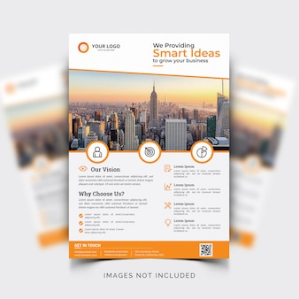 オレンジ色の詳細とビジネスチラシテンプレート