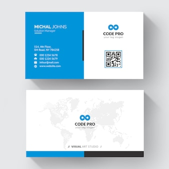 青い形の訪問カード