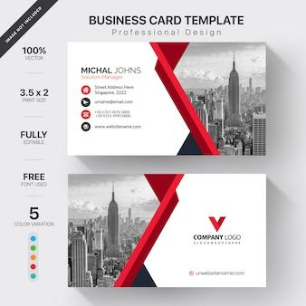 赤の詳細と白のビジネスカード