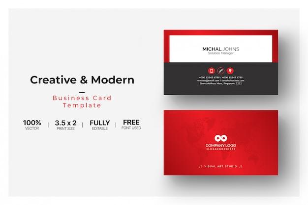 Элегантная визитка с красными деталями