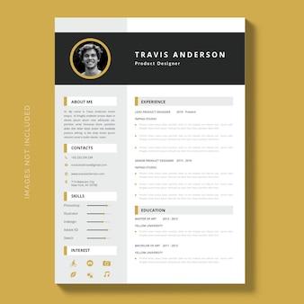 カリキュラムのモダンなシンプルなテンプレート、エレガントな履歴書テンプレート