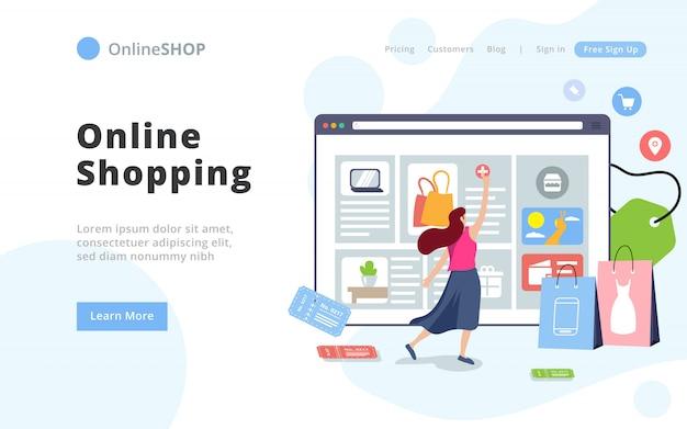 モダンなスタイルのオンラインショッピングのランディングページテンプレート。