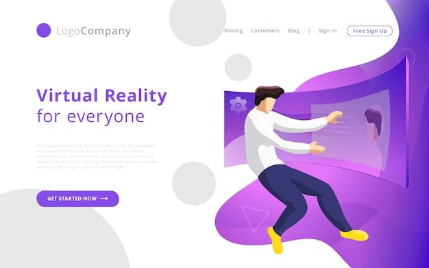 Будущий технолог человек в виртуальной реальности, касаясь и редактируя интерфейс