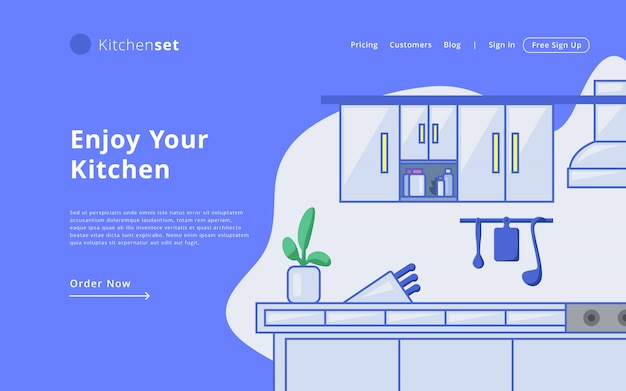 モダンなスタイルのオンラインキッチンセットランディングページテンプレートウェブサイトテンプレート