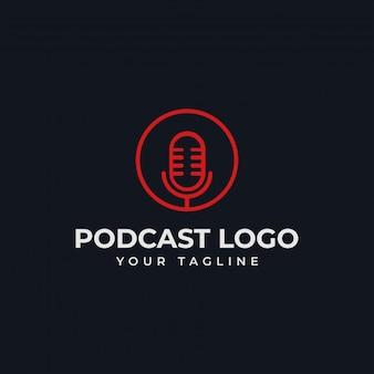 シンプルなサークルマイクポッドキャストラジオラインのロゴのテンプレート