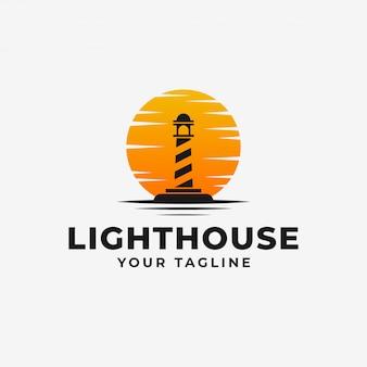 Маяк, маяк с закатом логотип дизайн шаблона