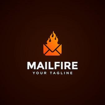 Шаблон дизайна логотипа современной почты и огня