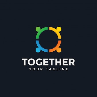 サークルの人々が一緒に団結ロゴデザインテンプレートイラスト