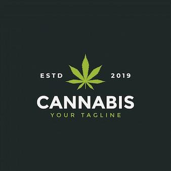 Иллюстрация шаблона дизайна логотипа листьев конопли