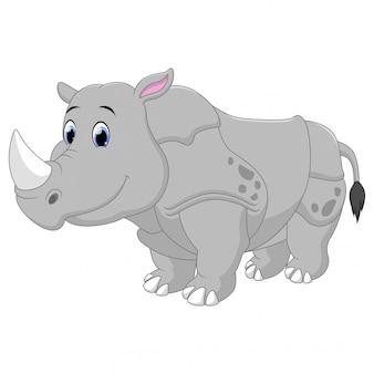 Большой мультфильм носорог, изолированные на белом