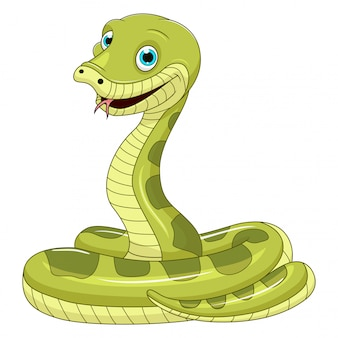 白い背景の上のかわいい緑のヘビ漫画