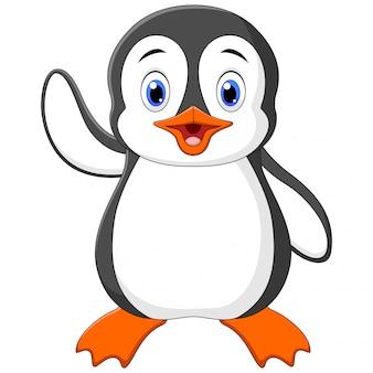 Иллюстрация мультяшный смешной маленький пингвин машет рукой