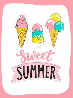 甘い夏のアイスクリームと手描きのレタリングで明るい夏のカード