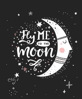 Летите меня на лунный монохромный плакат