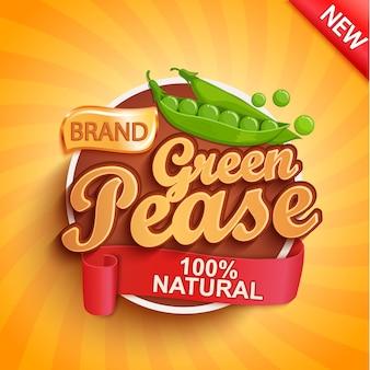 新鮮なグリーンピースのロゴ、ラベルまたはステッカー。