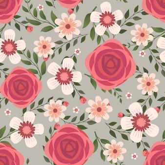 アパレルとファッションのファブリック、枝と葉と赤いバラの花の花輪アイビースタイルの花のベクトルアートワーク。シームレスパターンの背景。